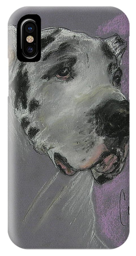 Great Dane IPhone X Case featuring the drawing Bodhi's Mystique by Cori Solomon