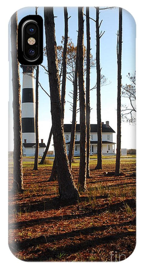Bodies Island Lighthouse; Lighthouse; Morning Light; Pine Trees; National Park Service; East Coast; Nags Head; Outer Banks; Obx; North Carolina IPhone X Case featuring the photograph Bodie Island Light Through The Pines by Shirley Whitenack