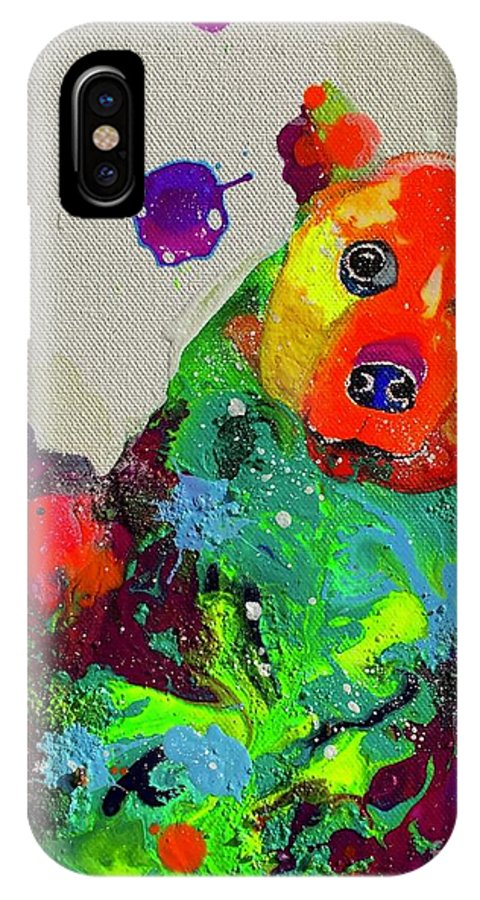 Bear Cub IPhone X Case featuring the painting Body by Kasha Ritter