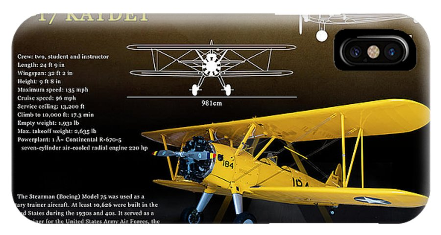 Military Poster     IPhone X Case featuring the photograph Boeing Stearman N2s Kaydet by Richard Hamilton