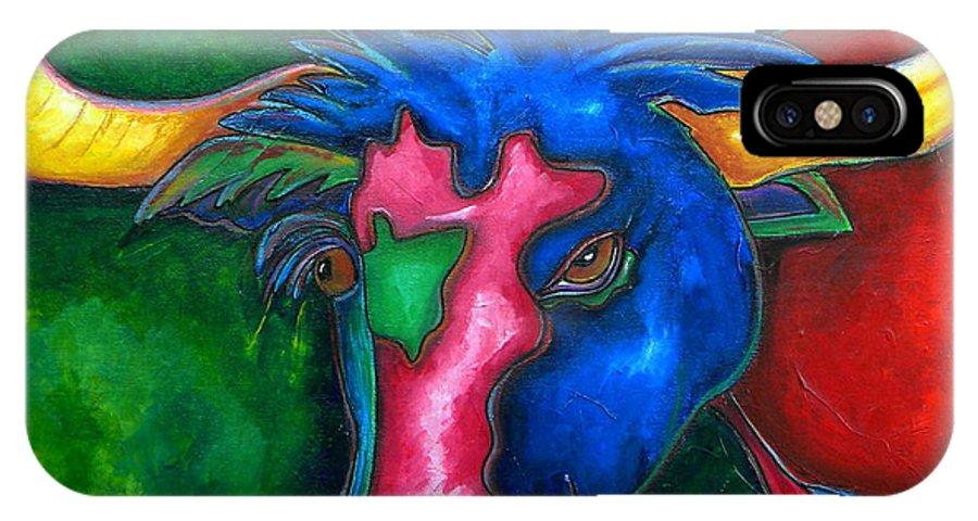 Longhorns IPhone X Case featuring the painting Boerne Longhorn by Patti Schermerhorn