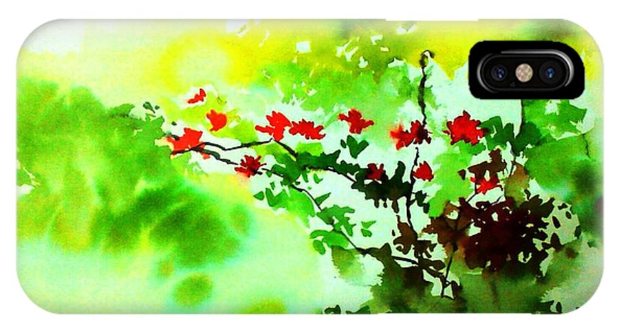 Floral IPhone Case featuring the painting Boganwel by Anil Nene