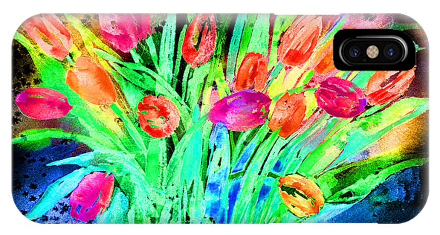 Tulip IPhone X Case featuring the mixed media Bold Tulips by Arline Wagner
