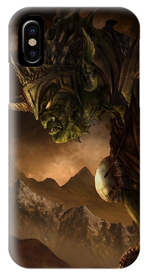 Goblin IPhone X Case featuring the mixed media Bolg The Goblin King by Curtiss Shaffer