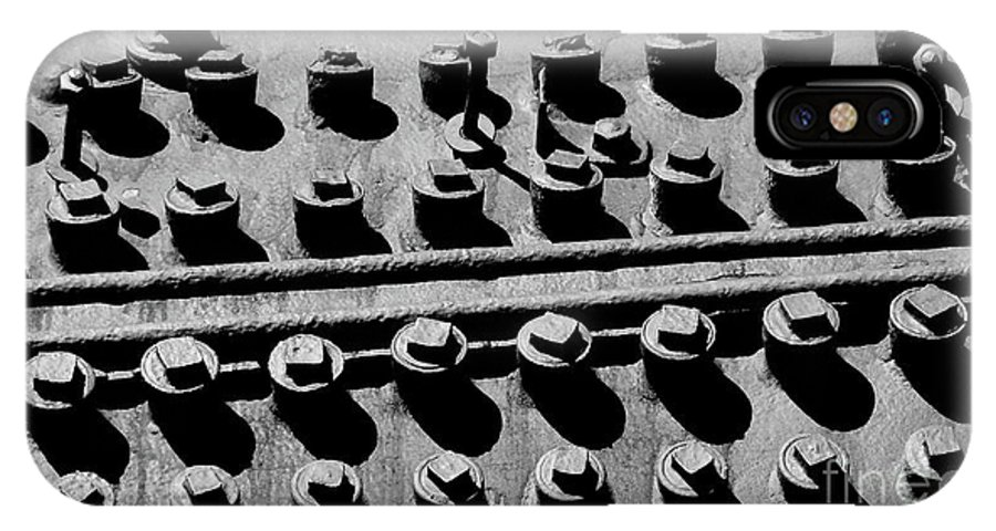 Digital Black And White Photo IPhone X Case featuring the photograph Bolt Heads by Tim Richards