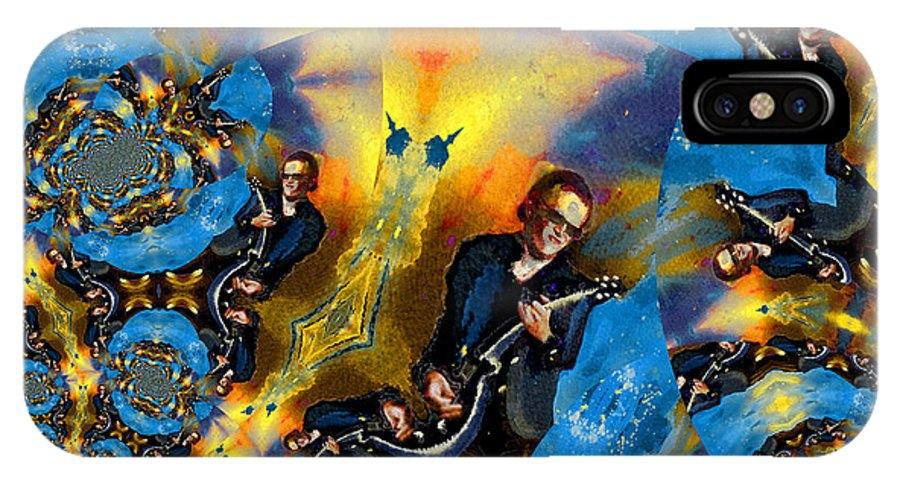 Music IPhone X Case featuring the painting Bonamassa Mania by Miki De Goodaboom