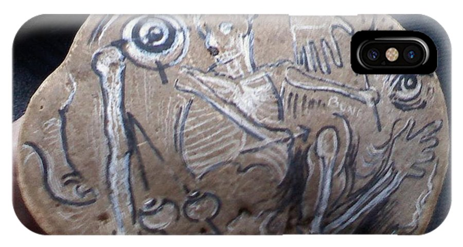 Artist's Mushrooms. Bones. Shelf Mushrooms. IPhone X Case featuring the drawing Bones by Randy Burns