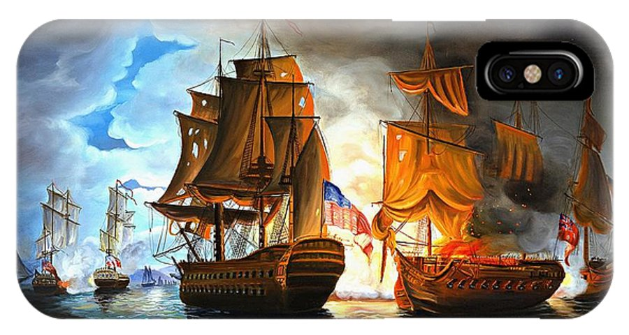 Naval Battle IPhone Case featuring the painting Bonhomme Richard Engaging The Serapis In Battle by Paul Walsh