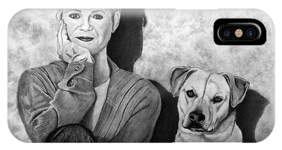 Bonnie Hunt And Charlie IPhone X Case featuring the drawing Bonnie Hunt And Charlie by Peter Piatt