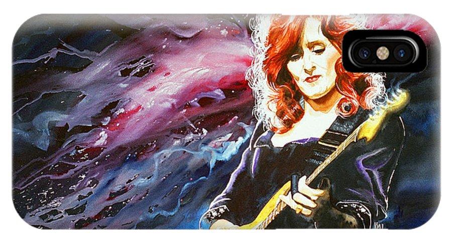 Women IPhone X Case featuring the painting Bonnie Raitt by Ken Meyer
