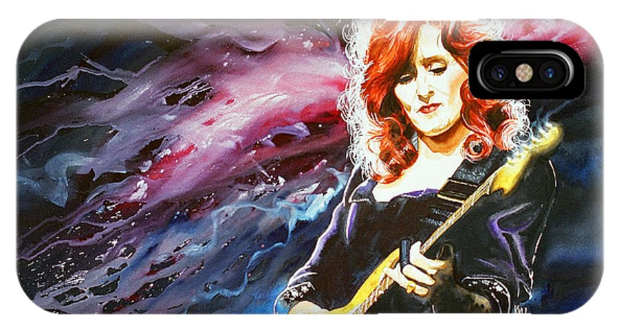 Women IPhone X Case featuring the painting Bonnie Raitt by Ken Meyer jr