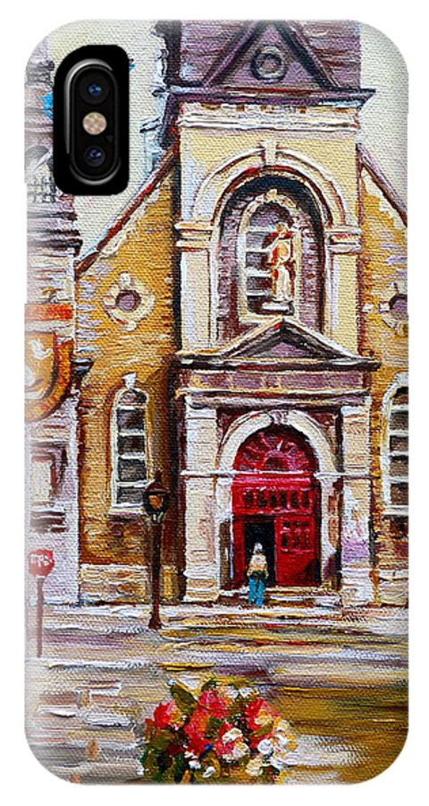 Montreal Churches IPhone X Case featuring the painting Bonsecours Church by Carole Spandau