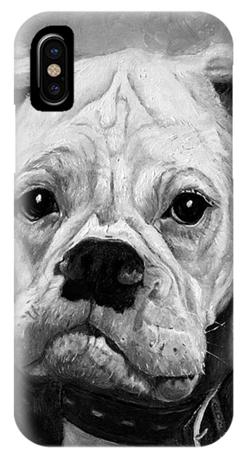 Boxer IPhone X / XS Case featuring the painting Boo The Boxer by Portraits By NC