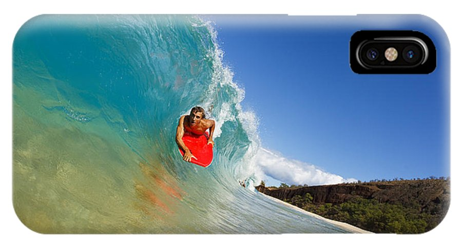 Action IPhone X Case featuring the photograph Boogie Boarding At Makena by MakenaStockMedia - Printscapes