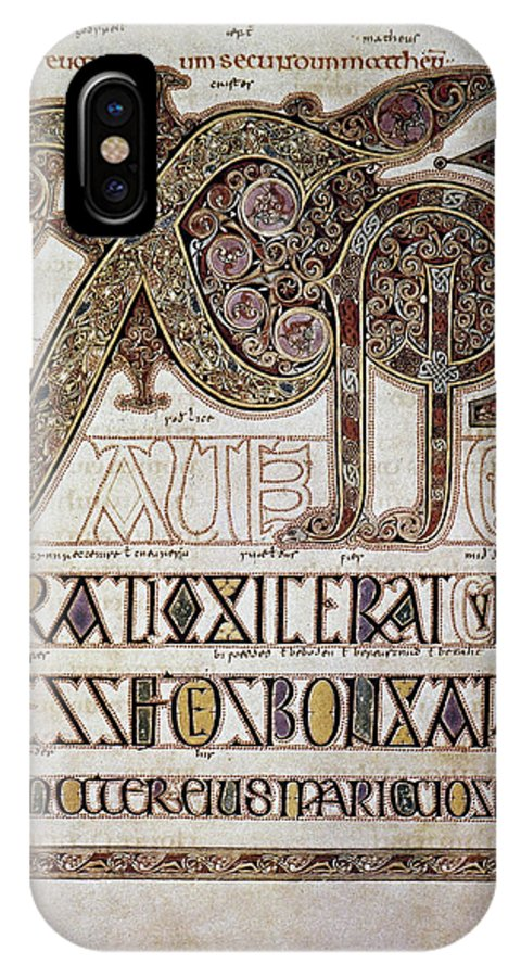 7th Century IPhone X Case featuring the photograph Book Of Lindisfarne Initial by Granger