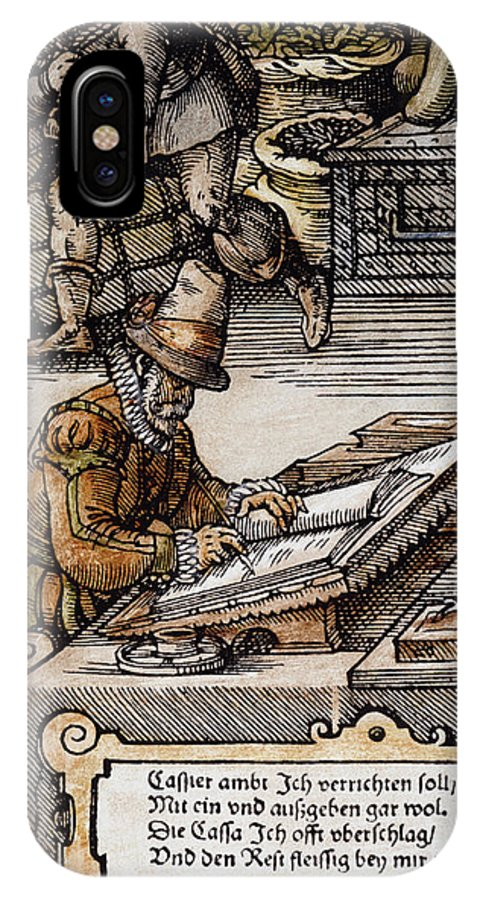 16th Century IPhone X Case featuring the photograph Bookkeeper, 16th Century by Granger