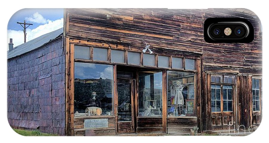 Old Store Supplies Historic Memories Mining Town Businesses Schools Bars Mine Blacksmith School House Hotel Church Union Hall Post Office Barber Shop Mill Bodie Mining Town Northern California. IPhone X Case featuring the photograph Boone Store And Warehouse by Thomas Todd