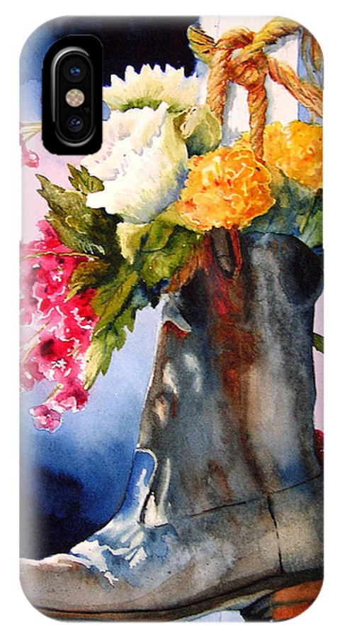 Cowboy IPhone X Case featuring the painting Boot Bouquet by Karen Stark