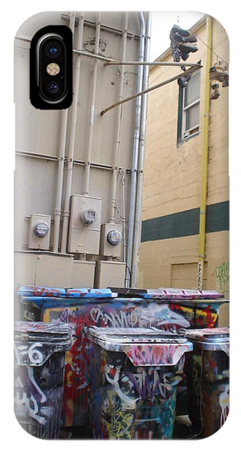 Urban Art IPhone X Case featuring the photograph Boots On A Wire by Chandelle Hazen
