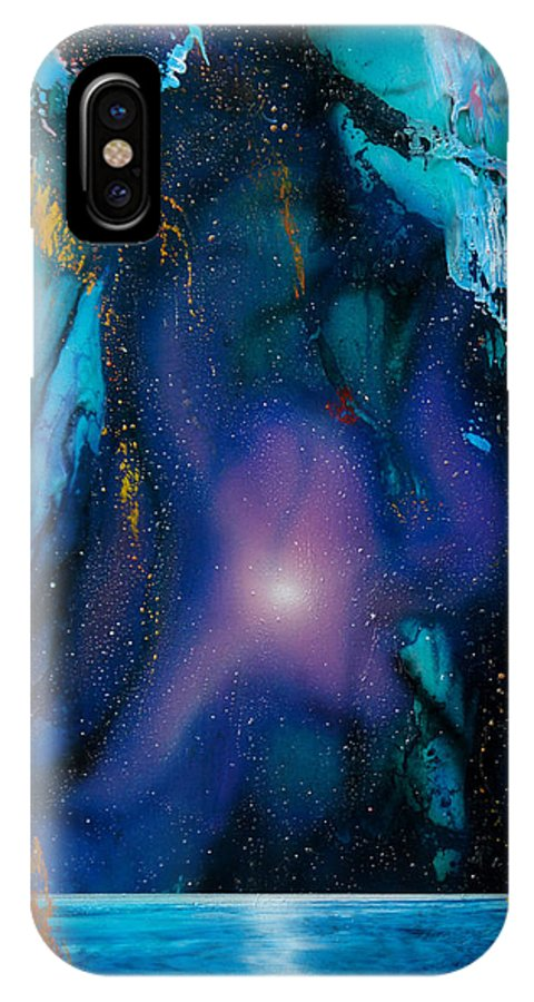 Nebula Caribe IPhone X Case featuring the painting Borealis by Angel Ortiz