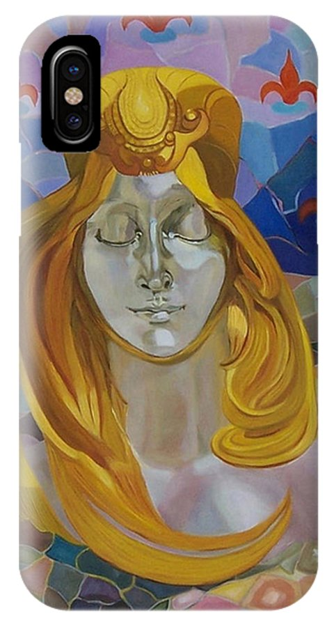 Figurative IPhone X Case featuring the painting Born-after Mucha by Antoaneta Melnikova- Hillman