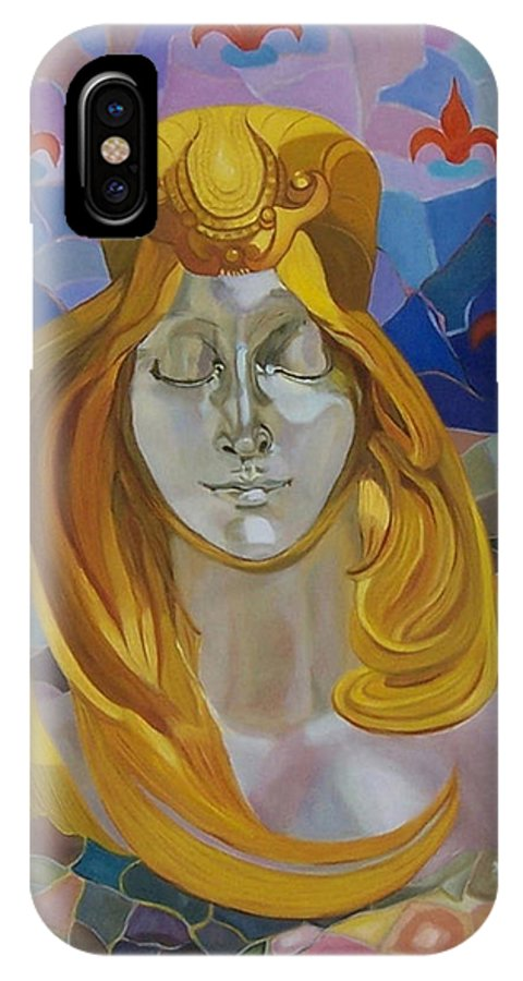 Figurative IPhone X / XS Case featuring the painting Born-after Mucha by Antoaneta Melnikova- Hillman