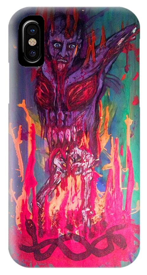 Demon IPhone X Case featuring the drawing Born Of Fire by Sam Hane