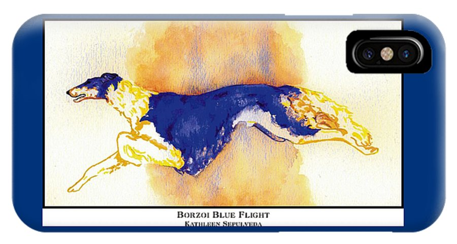 Borzoi IPhone X Case featuring the digital art Borzoi Blue Flight by Kathleen Sepulveda