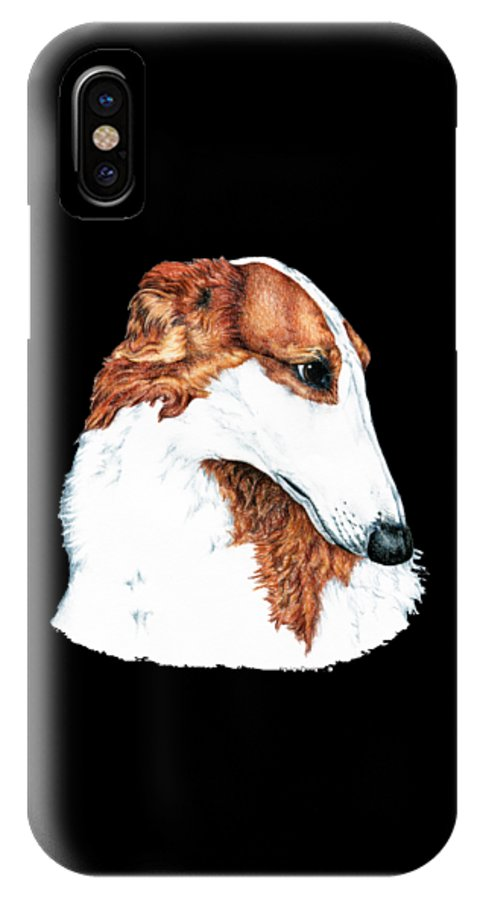 Borzoi IPhone X Case featuring the drawing Borzoi by Kathleen Sepulveda