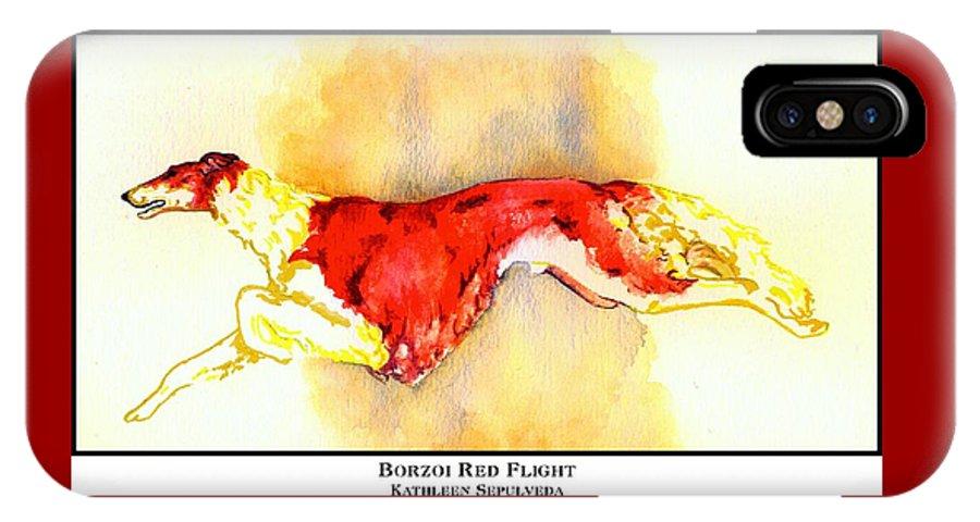 Borzoi IPhone X Case featuring the digital art Borzoi Red Flight by Kathleen Sepulveda