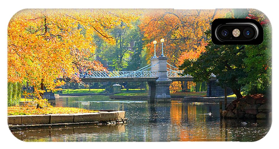 Boston Common IPhone X / XS Case featuring the photograph Fall Season At Boston Common by Louis Rivera