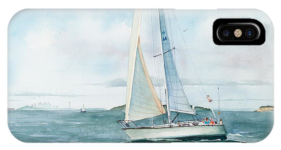 Seascape IPhone Case featuring the painting Boston Harbor Islands by Laura Lee Zanghetti