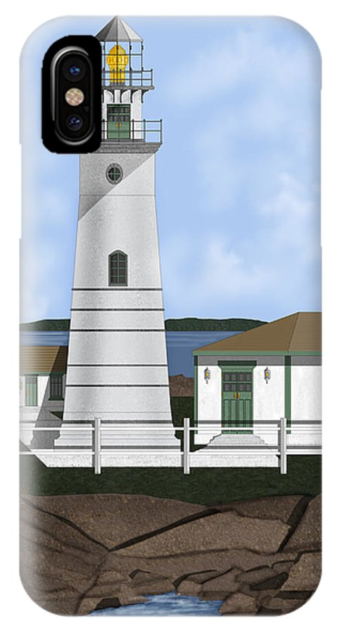 Lighthouse IPhone X Case featuring the painting Boston Harbor Lighthouse On Brewster Island by Anne Norskog