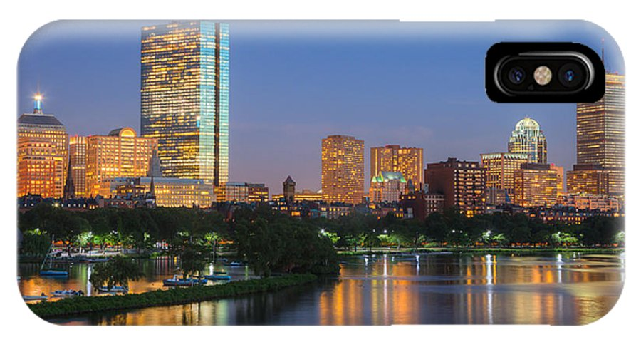 Clarence Holmes IPhone X Case featuring the photograph Boston Night Skyline II by Clarence Holmes