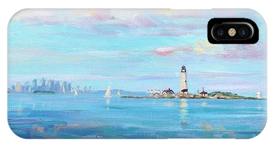 Seascape IPhone X Case featuring the painting Boston Skyline by Laura Lee Zanghetti