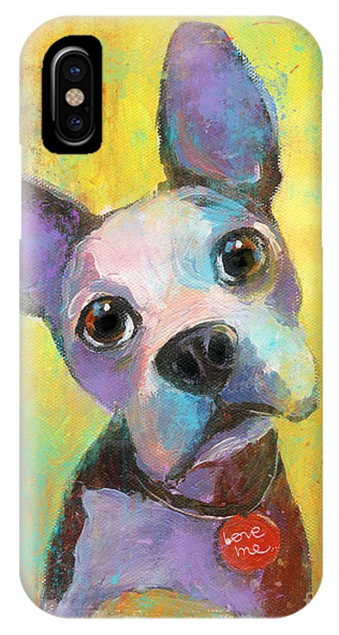 Boston Terrier IPhone X Case featuring the painting Boston Terrier Puppy Dog Painting Print by Svetlana Novikova