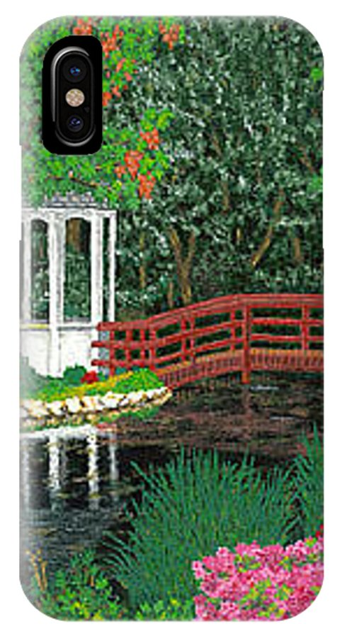 Art IPhone Case featuring the painting Botanical Garden Park Walk Pink Azaleas Bridge Gazebo Flowering Trees Pond by Baslee Troutman