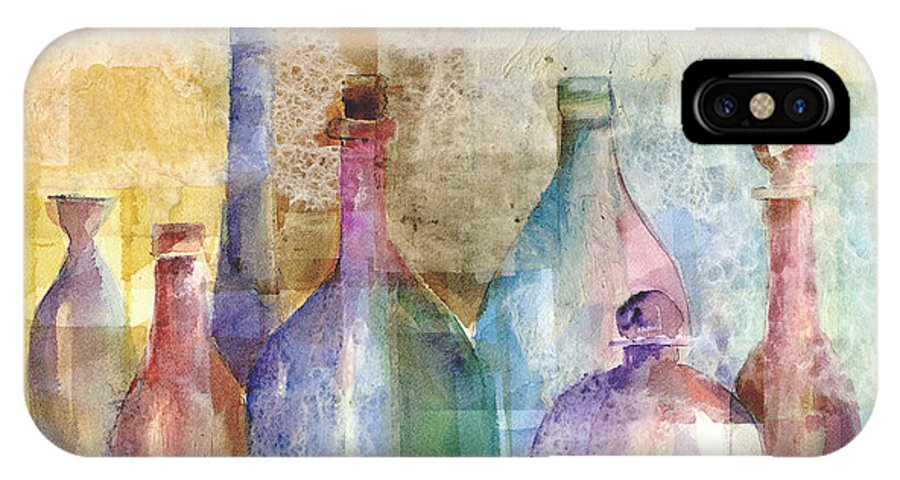 Bottle IPhone Case featuring the mixed media Bottle Collage by Arline Wagner