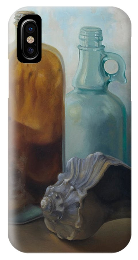 Vintage IPhone X Case featuring the painting Bottles And Shell by Carol Pascale