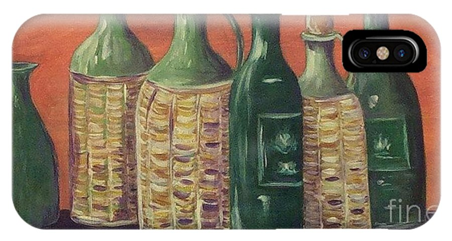 Bottle IPhone X Case featuring the painting Bottles by Jeanie Watson