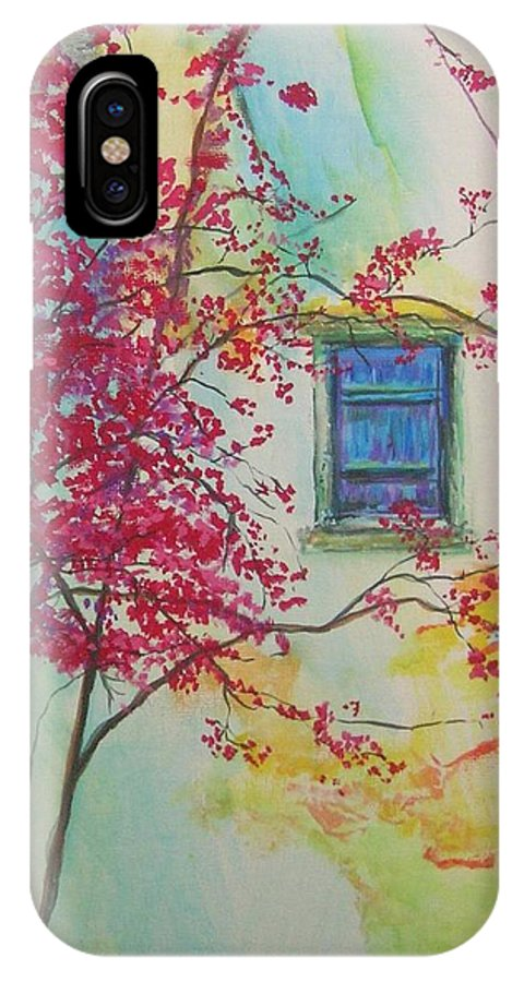Bouganvilla IPhone X / XS Case featuring the painting Bouganvilla And Blue Shutter by Lizzy Forrester