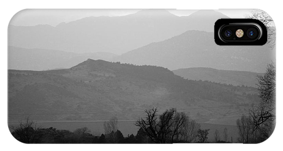 Foothills IPhone X Case featuring the photograph Boulder County Foothills To The Rockies Bw by James BO Insogna