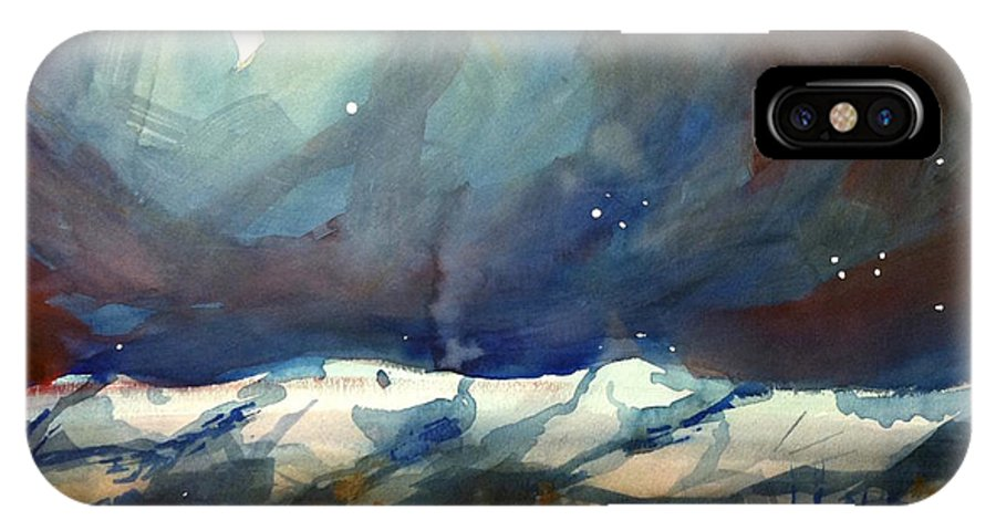 Colorado Winter Rocky Mountains Snow Boulder IPhone X Case featuring the painting Boulder Winter Night by Ugljesa Janjic