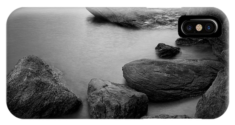 Black And White IPhone X Case featuring the photograph Boulders by Idaho Scenic Images Linda Lantzy