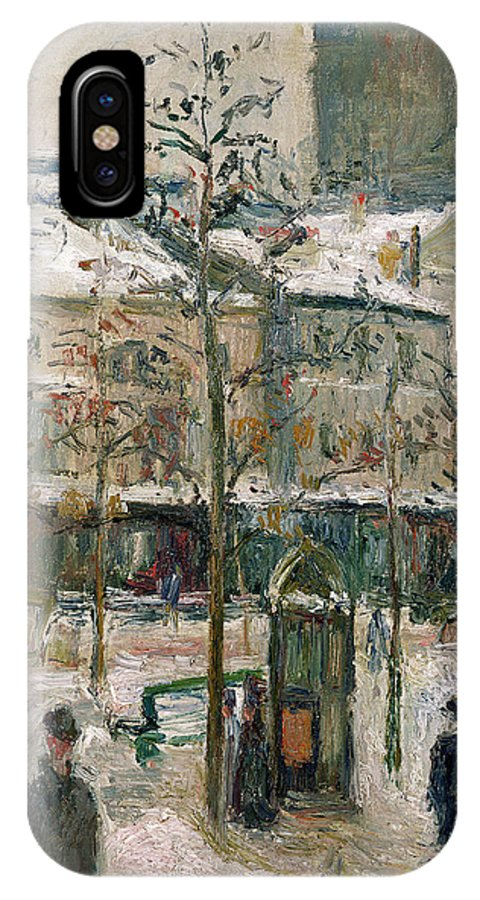 Boulevard IPhone X Case featuring the painting Boulevard De Rocheouart In Snow by Camille Pissarro