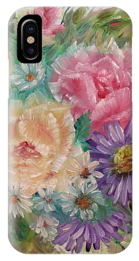 Rose IPhone X Case featuring the painting Bouquet 2 by Quwatha Valentine