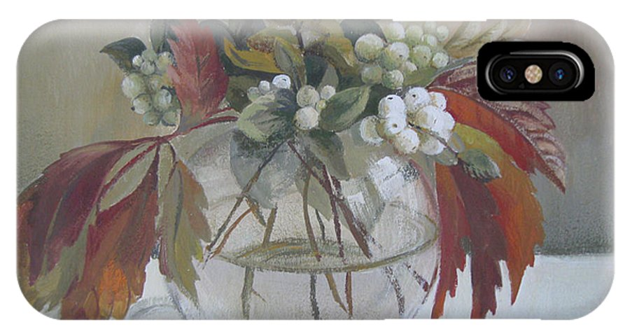 Still Life IPhone X Case featuring the painting Bouquet by Elena Oleniuc