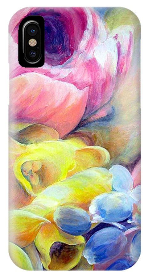 Flower IPhone X Case featuring the painting Bouquet by Muriel Dolemieux