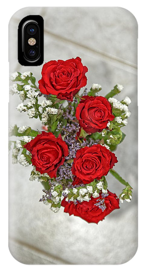 Anniversary IPhone X Case featuring the photograph Bouquet of red roses by Adrian Bud