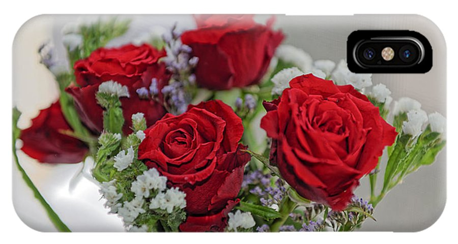 Anniversary IPhone X Case featuring the photograph Bouquet of red roses with white carnations by Adrian Bud